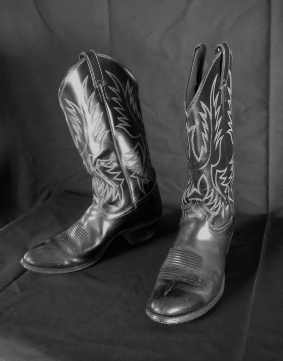Vintage Men's Justin Cowboy Boots 7E Black With Wh