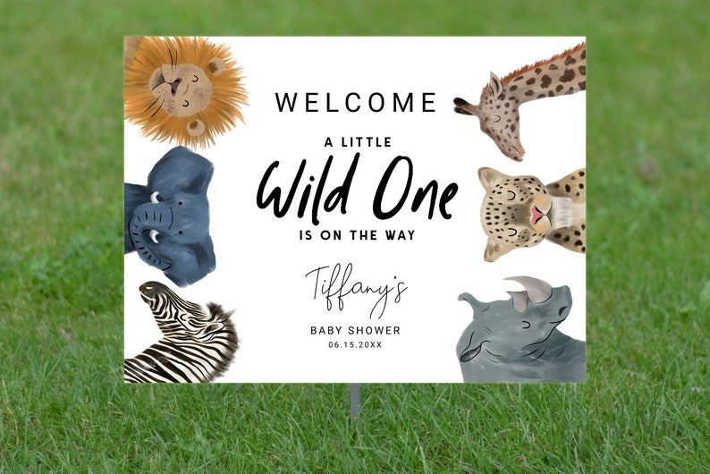 Editable Lawn Sign Digital File 24x18 Instant Download Template Printable Safari Theme Baby Shower Welcome Yard Sign 36x24