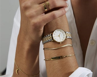 The Small Edit White Steel Silver Gold Duo, Watches, Watches for Women, Women Watches Silver,  Wrist Watches, Women's Watches