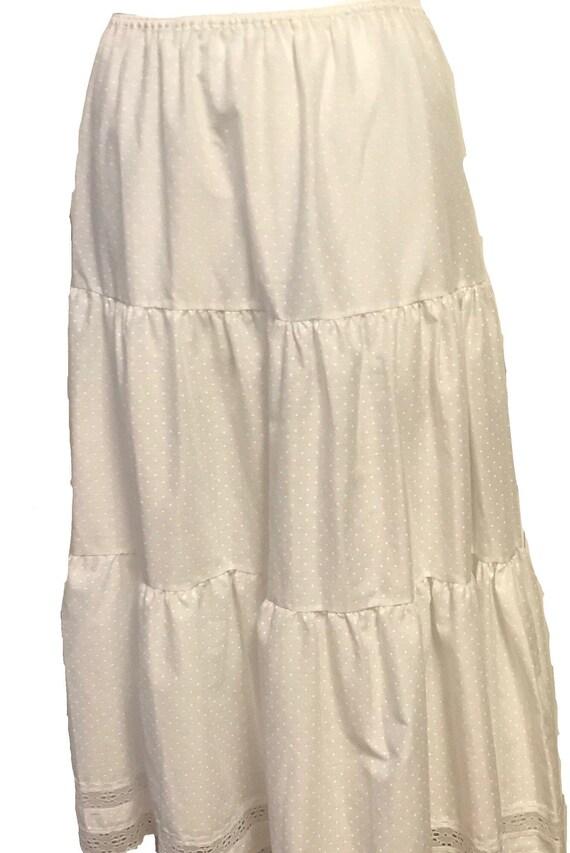 Vintage 1990s Swiss Polka Dotted White Maxi Skirt