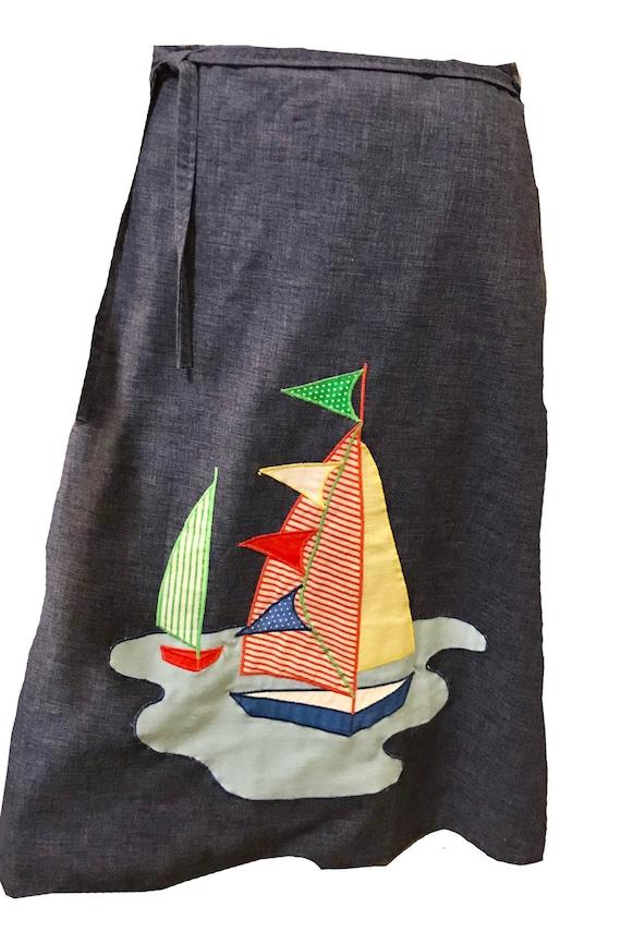 Vintage 1970s Sailboat Wrap Reversible Denim Skirt