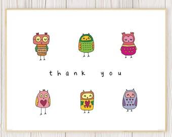 Cute owl thank you card (pack or single card) // cute bird thank you cards