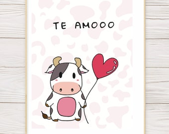 Te Amooo // Cute Cow Valentine's Day Anniversary Card, cute animal greeting card, punny Valentine's Day anniversary card