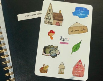 Cute Cottage Core lifestyle bujo sticker sheet for bullet journal, hand drawn & watercolour