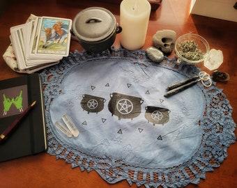 Naturally Dyed Indigo Screen Printed Altar Cloth Tarot Mat Cauldrons