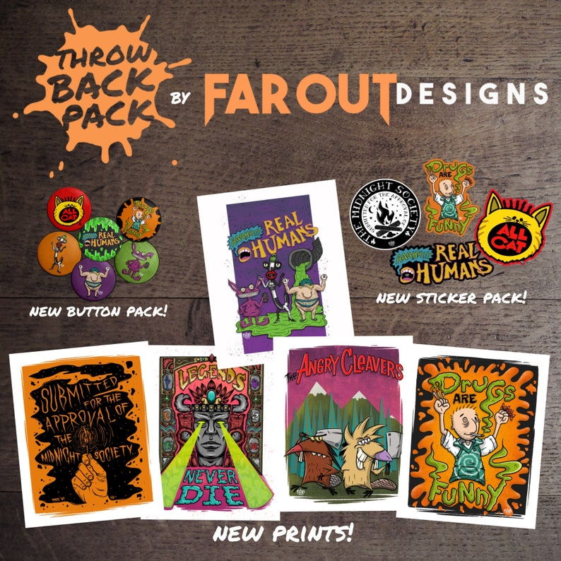 6 Buttons Throw Back Pack Full Series 1 Bundle 5 Prints 4 Stickers 90/'s Pop Culture Pack