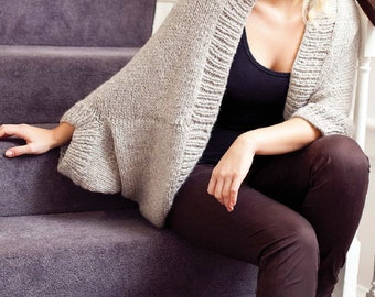 Easy Chunky Cocoon Cardigan KNIT PATTERNInstant PDF DownloadWomen Cardie Cocoon Simple Beginner ProjectWomens Sweater Top Pattern Knitted