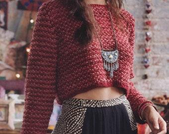 Crop Sweater KNITTING PATTERN Beginner Easy Women/Two Tone Seed St Yarn 4 Vintage Knit Pattern/Instant PDF Download/Sweater Pattern Beginner