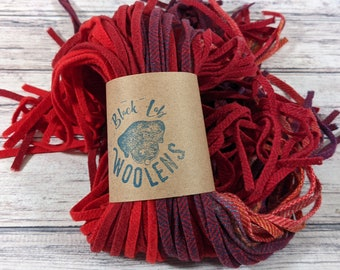 100 hand /& mill dyed Grab bag mix #6 wool strips for rug hooking punch needle