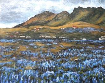 A field of purple flowers, original square acrylic painting on canvas, Iceland art, Iceland painting