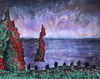 Red cliffs mixed media painting, ocean painting, impressionism