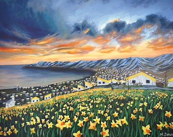 """70 x 90 cm large paper print of an oil painting """"The evening of playful and innocent visions"""", Iceland art"""