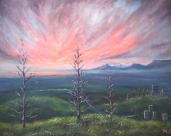 90 x 60 cm print, Drifting off into the distance, oil landscape painting art print