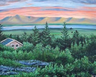 Cottage place, original oil landscape painting, Iceland painting, mountain painting, meadow painting