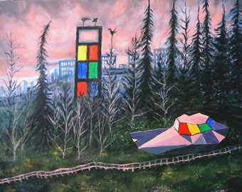 Dreamship, an original oil fantasy landscape painting, forest painting, pink sky painting