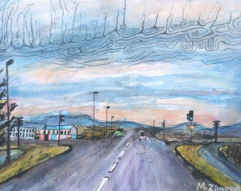 Street view, original watercolor landscape painting, road painting