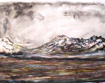 Watercolor Iceland mountain painting in earthy colors