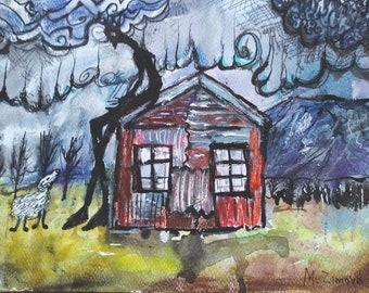 A friend, original watercolor landscape painting, illustration painting, Iceland art, Icelandic art