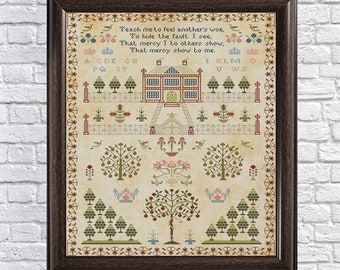 19th Century House and Trees Scottish Sampler Antique Reproduction - Cross Stitch - Counted Chart PDF Instant Download Cross-Stitch Pattern