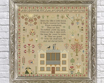 1817 Scottish Sampler Antique Reproduction - Cross Stitch - Counted Chart PDF Instant Download Cross-Stitch Pattern Old European Scotland UK