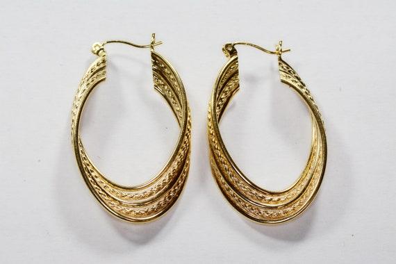 Vintage 14k Gold Large Hoop Earrings 14k Yellow G… - image 7