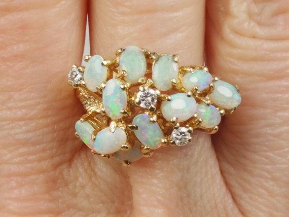 14k Solid Gold Opal RingDiamond RingOpal RingOctober Birthstone RingOpal Diamond RingVintage Ring Fancy Ring Australian Opal Ring