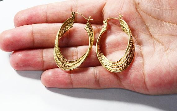 Vintage 14k Gold Large Hoop Earrings 14k Yellow G… - image 8