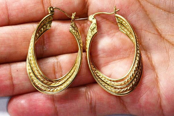 Vintage 14k Gold Large Hoop Earrings 14k Yellow G… - image 9