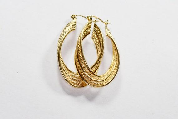 Vintage 14k Gold Large Hoop Earrings 14k Yellow G… - image 4