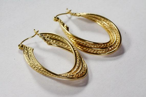 Vintage 14k Gold Large Hoop Earrings 14k Yellow G… - image 2