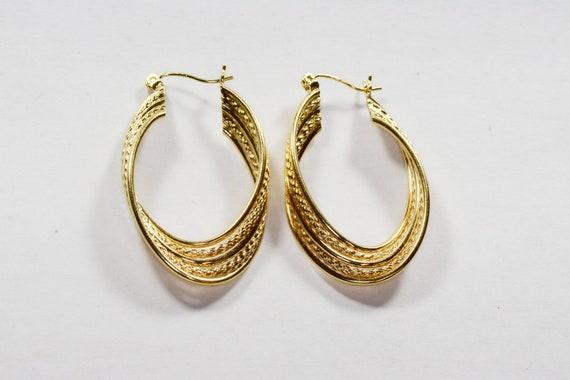 Vintage 14k Gold Large Hoop Earrings 14k Yellow G… - image 1