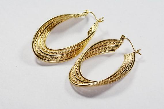 Vintage 14k Gold Large Hoop Earrings 14k Yellow G… - image 3
