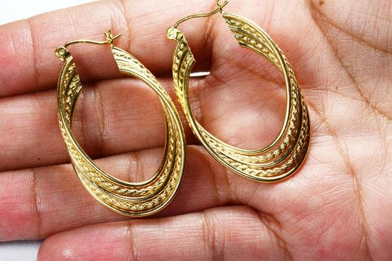 Vintage 14k Gold Large Hoop Earrings 14k Yellow G… - image 10