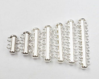 24Pcs 4//6mm Silver//White Tube Barrel Magnetic Clasp Jewelry Making Findings