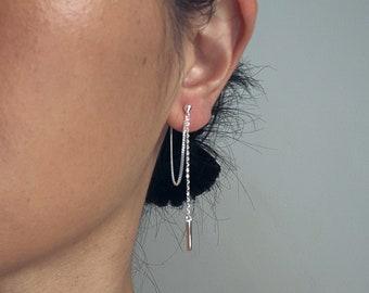 Sterling Silver Double Chain Drape Earrings