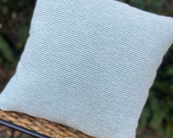 Aqua and White Chenille Striped Pillow / Turquoise / Coastal / Beach / Nautical