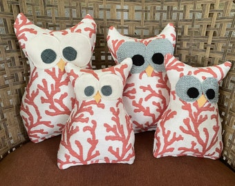 Owl Pillows - Coral Pattern