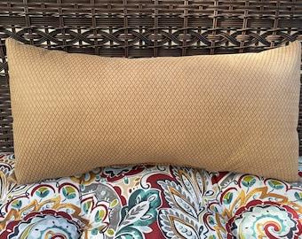 Faux Leather Basketweave Lumbar Pillow