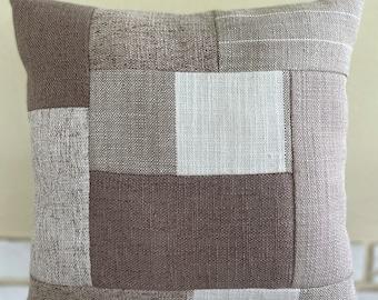 Patchwork Pillow - Tan
