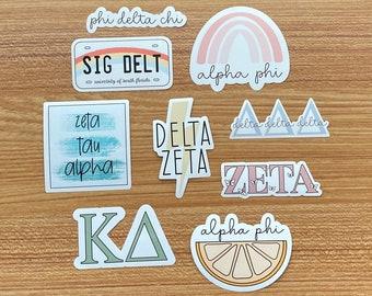 Custom Sorority Stickers | TriDelta | Zeta | Chi Omega | Gamma Phi | Kappa Delta | Cute Sorority Sticker Pack | Trendy Sorority Stickers |