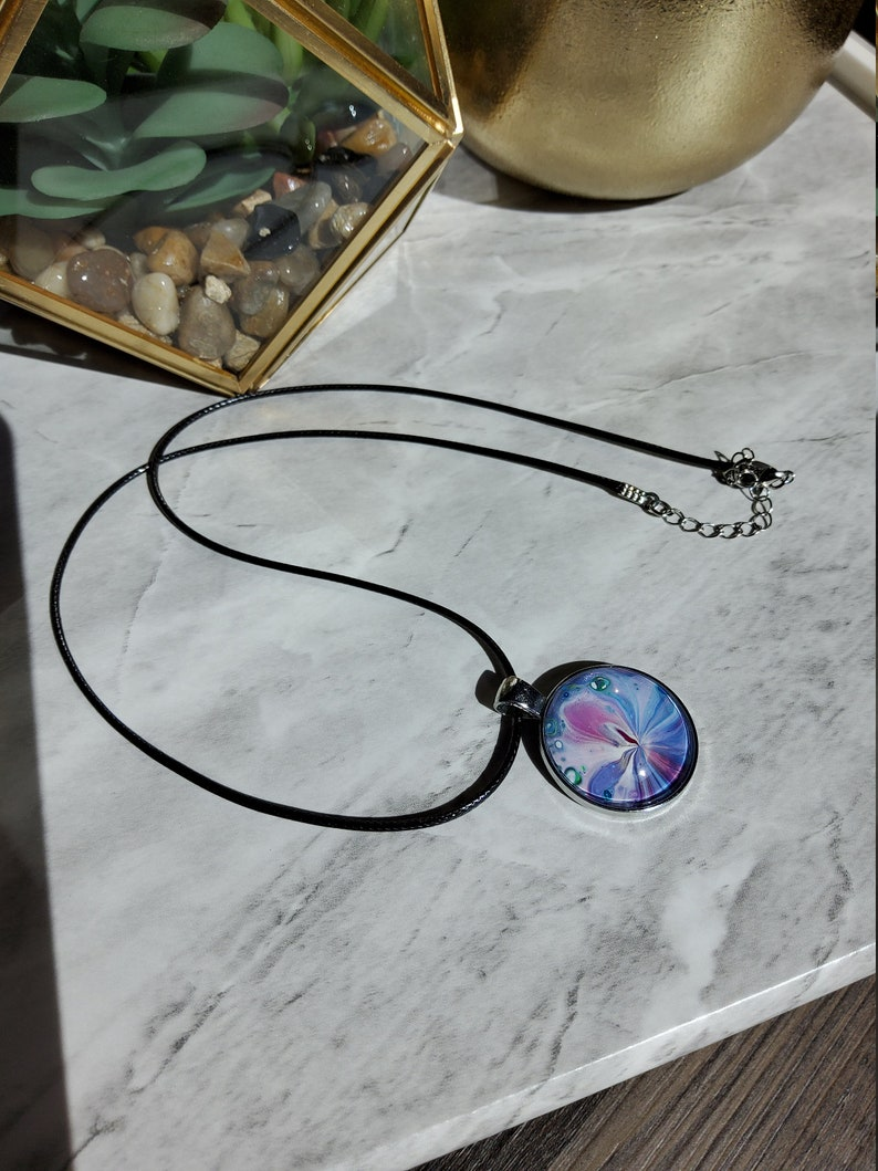 Purple,and White Fluid Art Circle Pendant Necklace Blue