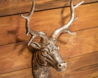 Polished copper metal stag deer head wall mounted vintage modern home decor