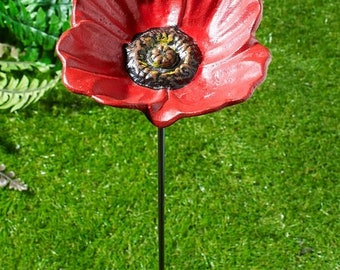 Cast Iron Bird Feeder Poppy Water Dish Seed Nut Flower on a Pole Garden Ornament