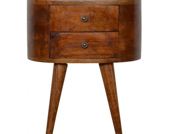 Chestnut Rounded Bedside Table, Hand Crafted, Chestnut Finish