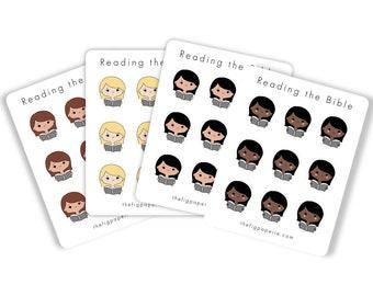 Planner Girls - Reading the Bible - Sticker Sheet - JW Planner - JW Sticker - JW Gift Ideas