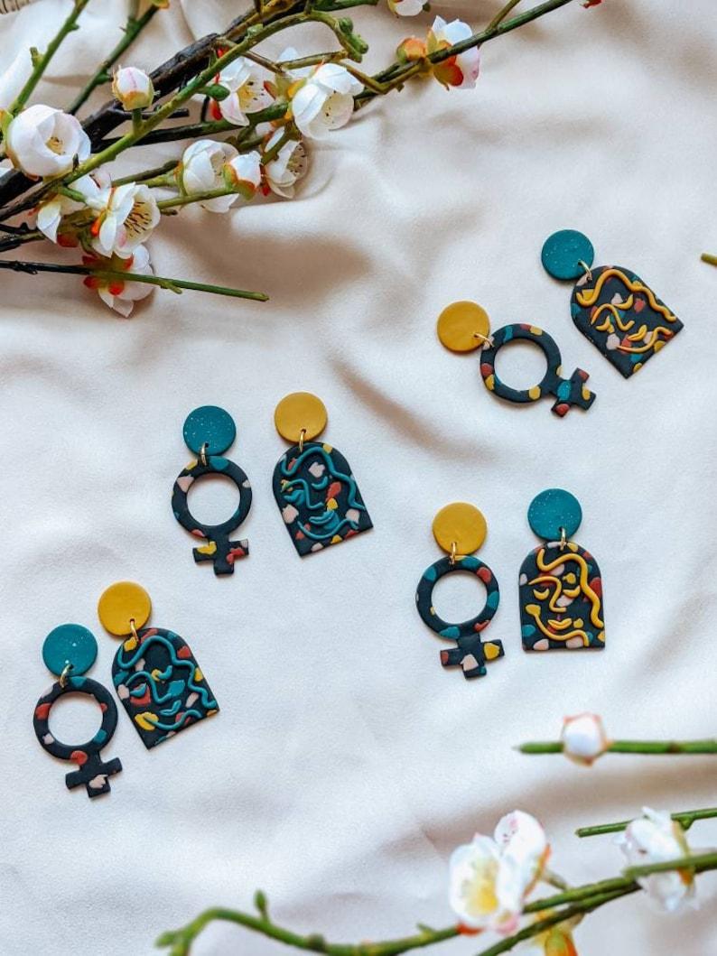 boss babe earrings \u2022 womens day earrings \u2022 womens history month jewelry \u2022 feminist earrings \u2022 handmade clay earrings \u2022 asymmetrical earrings
