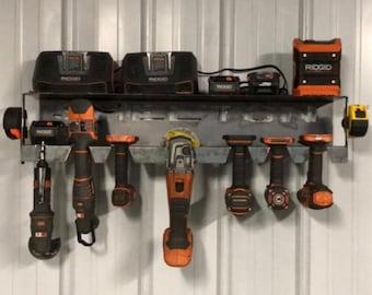 SVG FILE - Drill Holder _ Ridgid Tool Holder - Tool Organizer - She Shed organizer - Battery Shelf- Battery Tool Holder - Drill Shelf