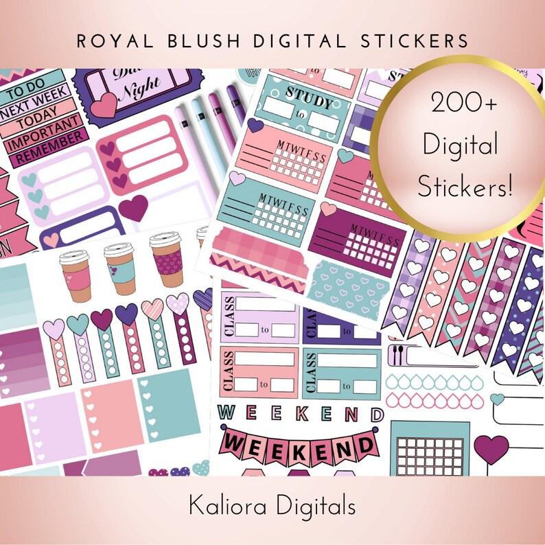 Royal Blush Digital Planner Stickers  Xodo Stickers  image 0