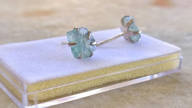 Unusual light blue gemstone silver studs Light Blue raw aqua Raw Aquamarine Stud Earrings In Sterling Silver Natural Rough Raw Aqua