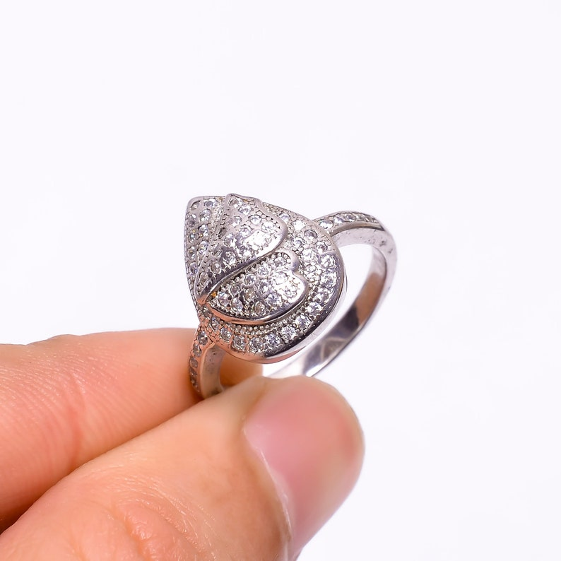 Butterfly wings pear shape simple cubic zirconia  sterling silver rings for her everyday ring gift for mom